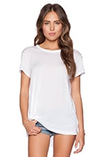 Cotton Modal Jersey Twisted Pleat Slouchy Tee in White