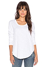 Shirttail Long Sleeve Tee in White