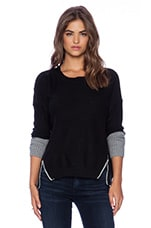 Two Toned Zip Knit in Black
