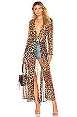 we are LEONE Maxi Chiffon Cardigan Kimono in Leopard