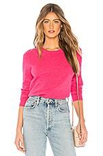 White + Warren Essential Crewneck Sweater in Pop Pink Heather