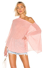 White + Warren Two Way Angled Poncho in Peach Parfait Heather