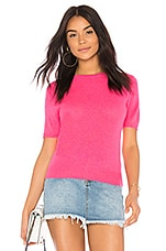 White + Warren Cashmere Fitted Tee in Neon Pink