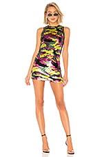 X by NBD Taviana Embellished Mini Dress in Fuchsia & Chartreuse