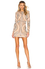 NBD Whitney Embellished Mini Dress in Pewter & Nude