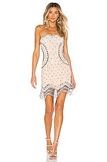 X by NBD Betsy Embellished Mini Dress in Ivory & Pewter