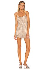 X by NBD Lala Embellished Mini Dress in Nude & Silver