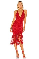 X by NBD Hayden Midi Dress in Candy Red