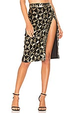 X by NBD Levi Skirt in Light Gold & Black