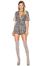 X by NBD Maxwell Romper in Silver Sequin