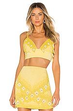 X by NBD Marley Embellished Top in Yellow