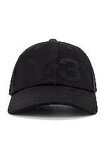 Y-3 Yohji Yamamoto Logo Cap in Black