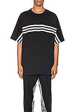 Y-3 Yohji Yamamoto 3 Stripe Packable Tee in Black & Ecru
