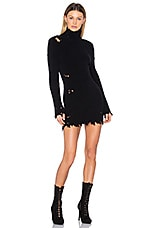 Destroyed High Neck Boucle Sweater Dress in True Onyx