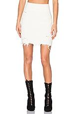 Destroyed Boucle Skirt in Off White