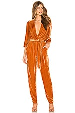 Young, Fabulous & Broke Bellows Jumpsuit in Marigold Velvet