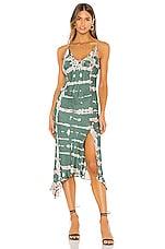 Young, Fabulous & Broke Ciara Dress in Emerald Ladder Wash