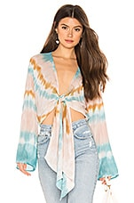 Young, Fabulous & Broke Free Fall Top in Teal Valley Wash
