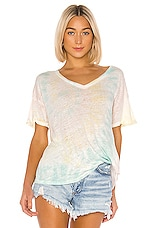 Young, Fabulous & Broke V Neck Twister Tee in Crystal Spiral Wash