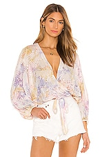 Young, Fabulous & Broke Lacey Wrap Top in Violet Burst Wash