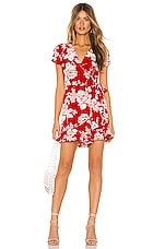 Yumi Kim Frill Seeker Romper in French Rose Red