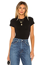 Yummie Short Sleeve Bodysuit in Black