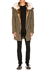 Yves Salomon Cotton Parka with Rabbit and Coyote Fur in Hunter Green & Oil
