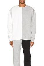 Zanerobe Splice Crew Sweatshirt in Milk & Silver Marle