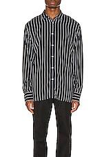 Zanerobe Pinstripe Long Sleeve Shirt in Ink & Milk