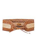 Zimmermann Woven Wide Waist Belt in Tan Sand