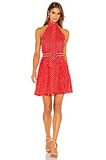 Zimmermann Zinnia Halter Neck Mini Dress in Scarlet Ivory Dot