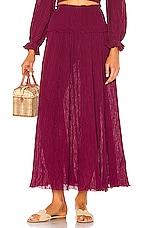 Zimmermann Suraya Shirred Waist Skirt in Burgundy