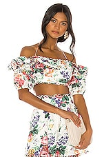 Zimmermann Allia Pintuck Off Shoulder Top in White Floral