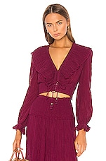 Zimmermann Suraya Frill Blouse in Burgundy