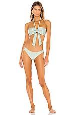 Zimmermann Kirra Tie Bandeau Bikini Set in Light Teal & Orange Spot