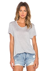 Loose Fit V Neck Tee in Grey Heather