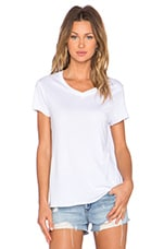 Loose Fit V Neck Tee in Optical White