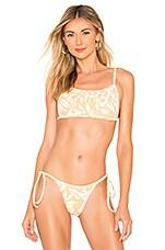 ZULU & ZEPHYR Hibiscus Bralette Bikini Top in Yellow & White