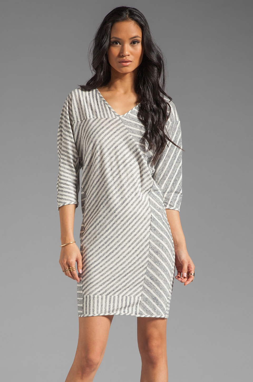 DEREK LAM 10 CROSBY Seamed Tee Shirt Dress in Grey Melange