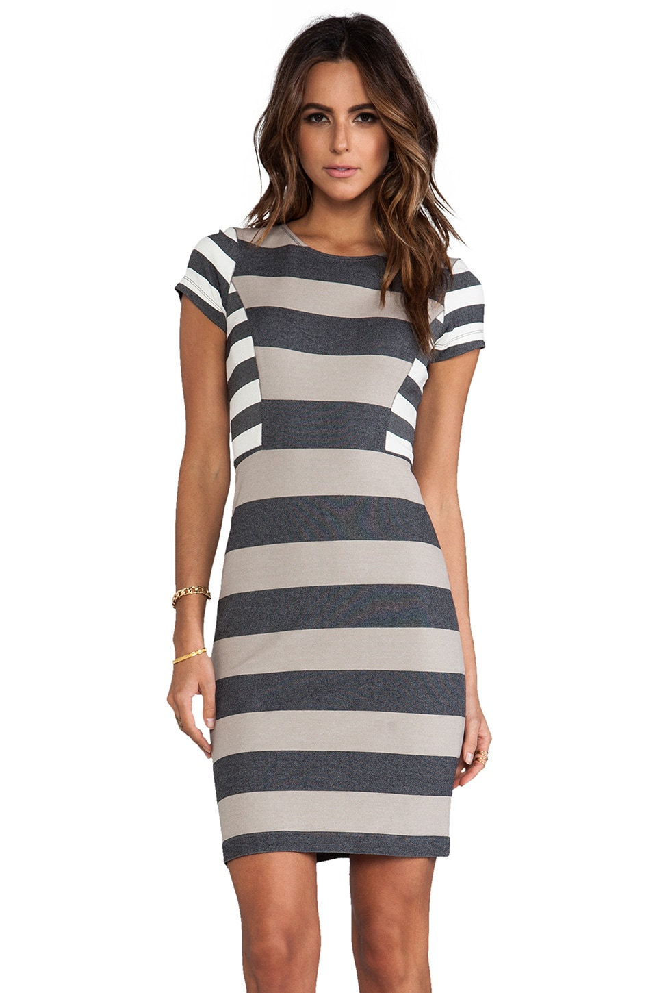 DEREK LAM 10 CROSBY RUNWAY Short Sleeve Dress in Combo Stripe