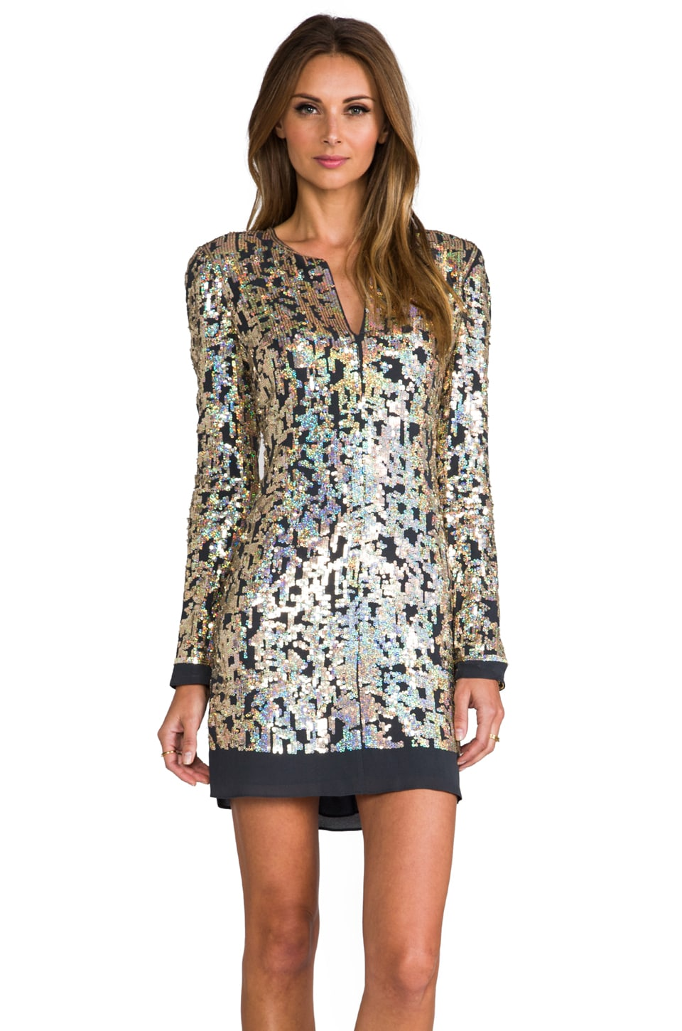 DEREK LAM 10 CROSBY Digital Sequins Long Sleeve Dress in Gold