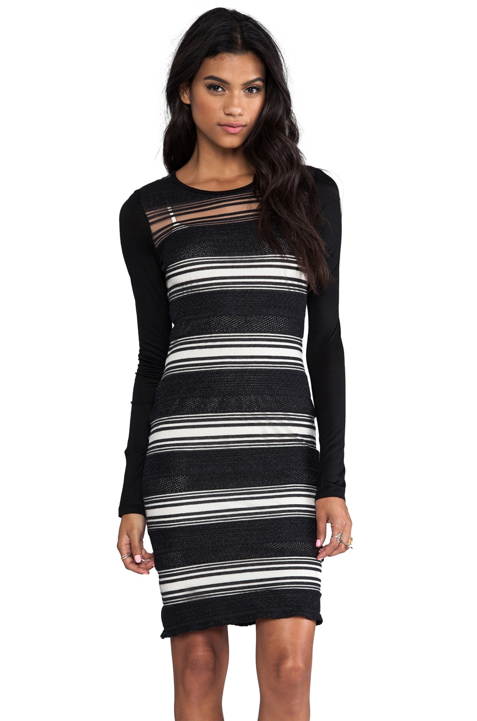 DEREK LAM 10 CROSBY Sheer Stripe Long Sleeve Dress en Noir