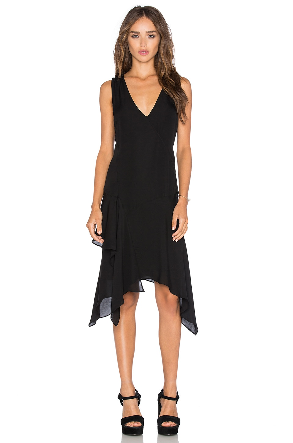 DEREK LAM 10 CROSBY Asymmetrical Tank Dress in Black