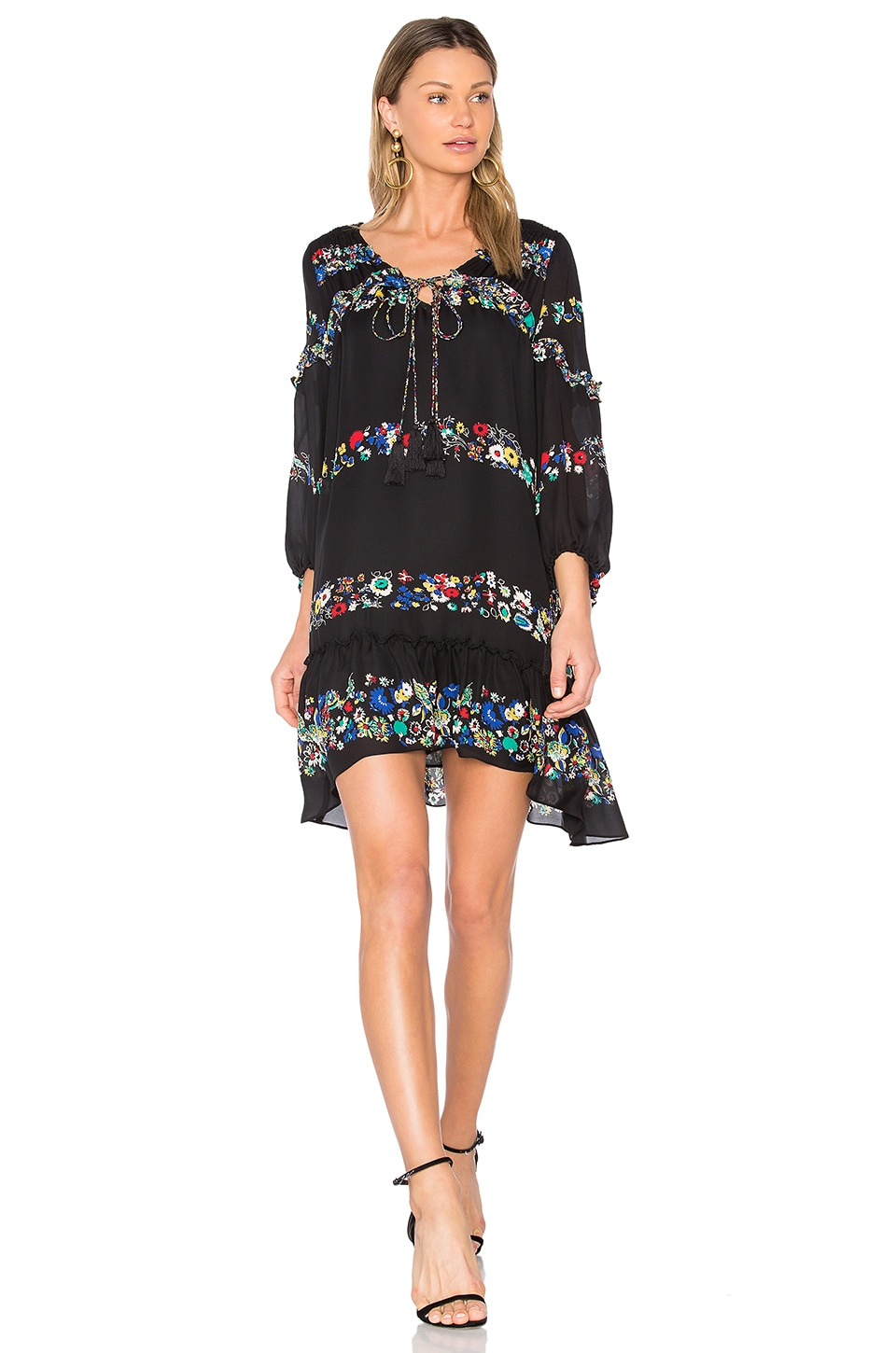 Floral Bell Sleeve Ruffle Dress by Derek Lam 10 Crosby