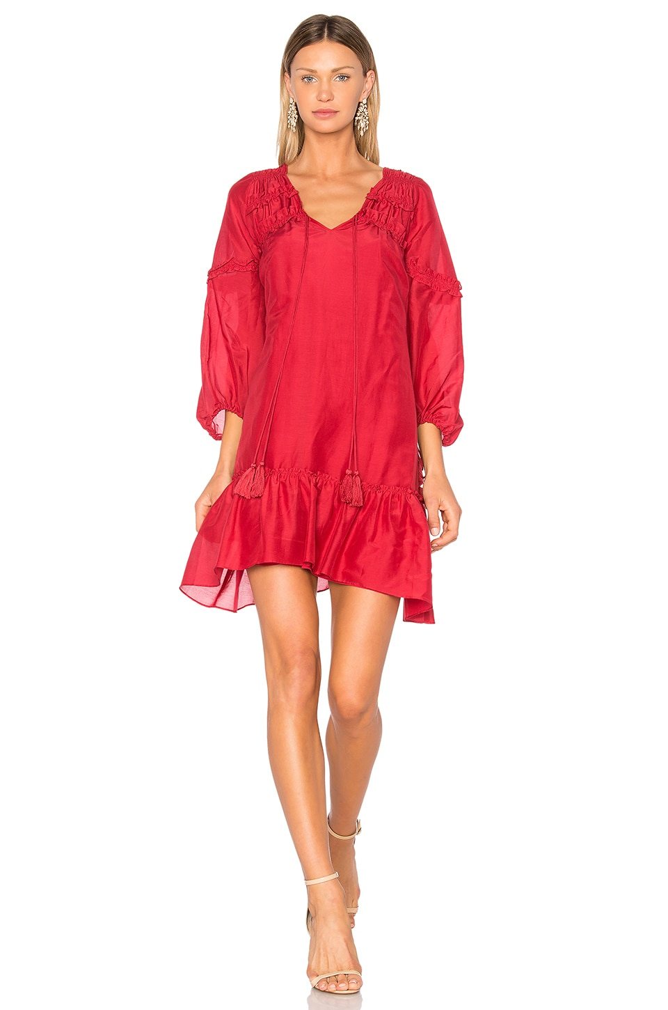 Bell Sleeve Ruffle Solid Dress by DEREK LAM 10 CROSBY