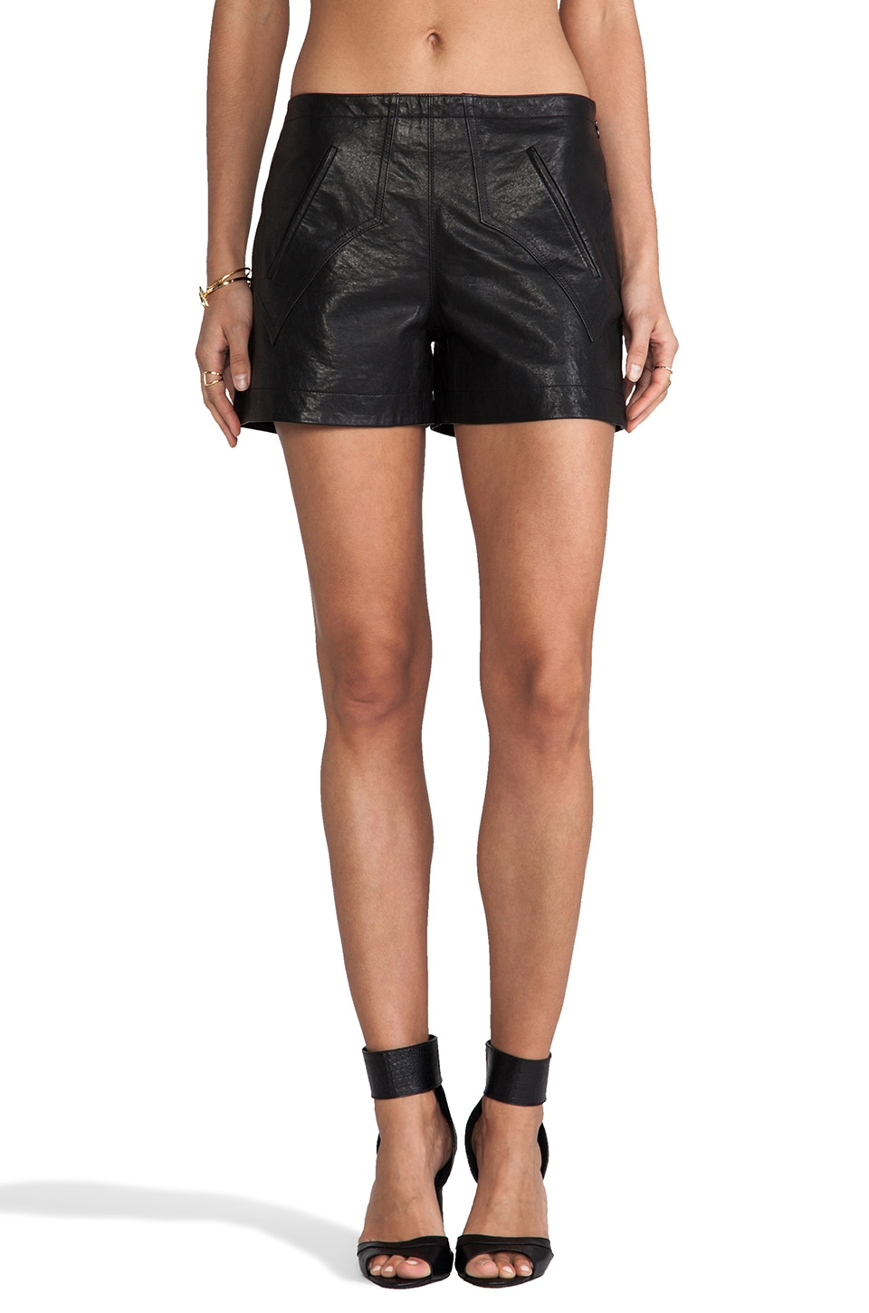 DEREK LAM 10 CROSBY Western Leather Shorts in Black