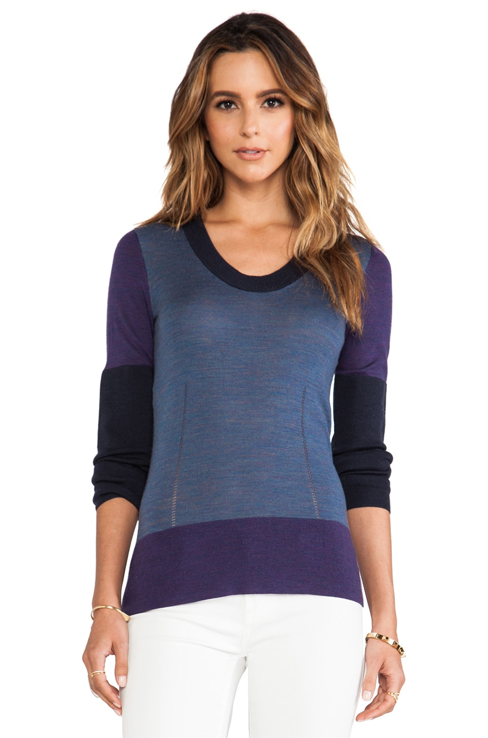 DEREK LAM 10 CROSBY Crewneck Sweater in Purple Combo