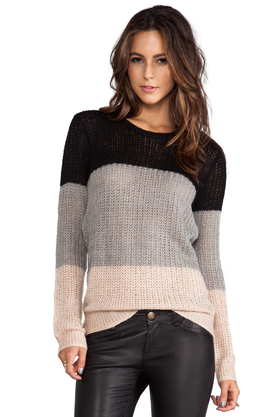 DEREK LAM 10 CROSBY Crew Neck Sweater in Grey/Nude/Black