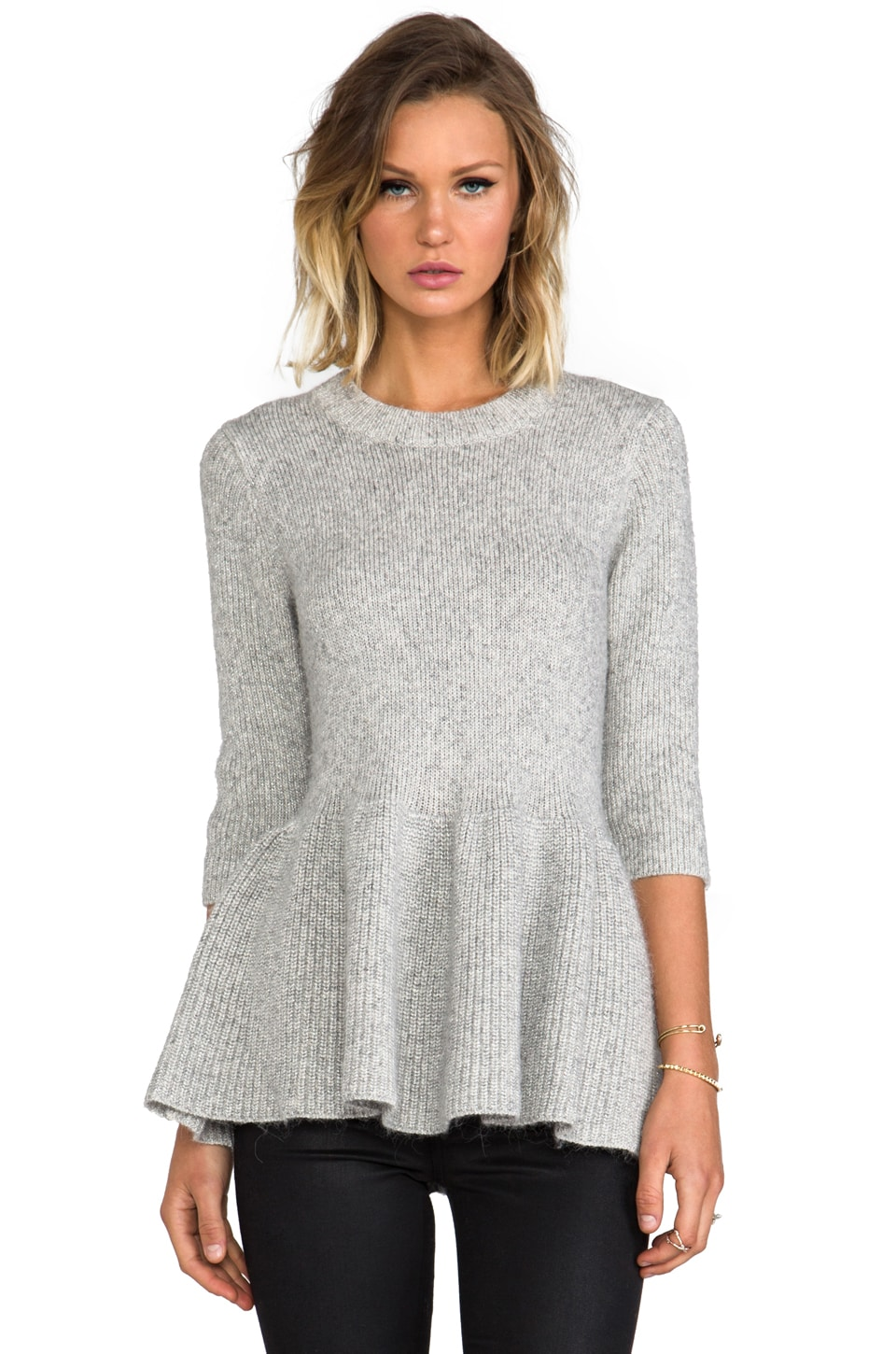 DEREK LAM 10 CROSBY Metallic Peplum Sweater in Grey