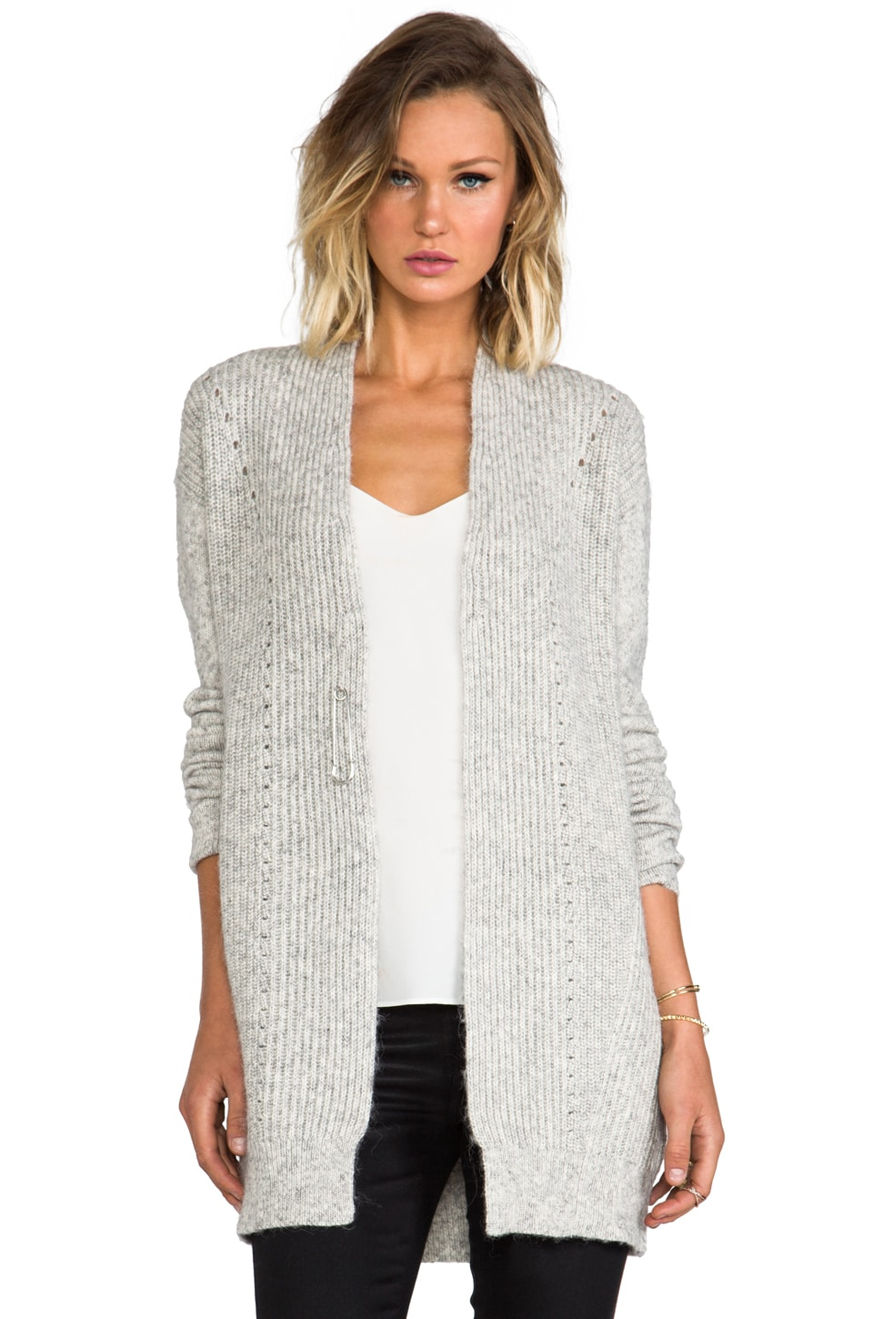 DEREK LAM 10 CROSBY Long Sleeve Cardigan in Grey